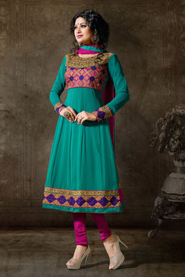 Turquoise Colour Georgette Salwar Kameez