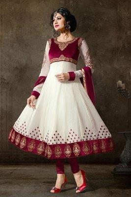 Red And Maroon Beautiful Georgette Salwar Kameez
