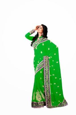 Green color chiffon saree
