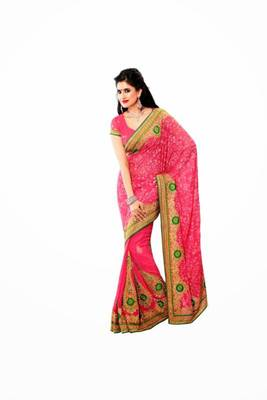 Red & Green color chiffon saree