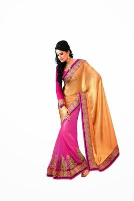 Golden & Pink color net with chiffon saree