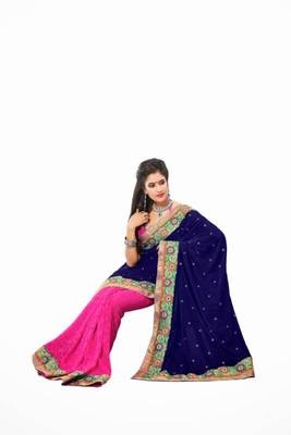 Blue & Pink color velvate with georgette weaving saree