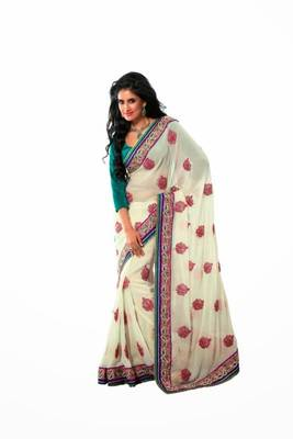 Off white color chiffon saree
