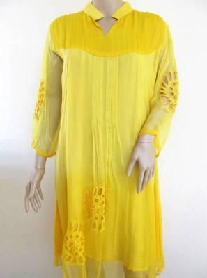 Shaded yellow chiffon kurti with cutwork