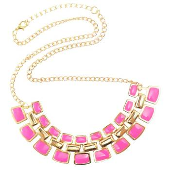DIOVANNI Baby Pink Bring Da Bling Statement Necklace