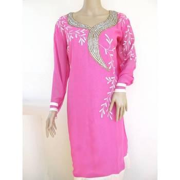 Pink georgette semistitched kurti with fancy yoke