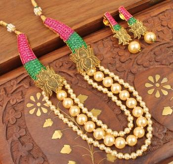 Royal Semiprecious Ruby Emerald Bridal Lotus Necklace Set