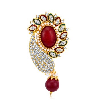 Glamorous Gold Plated AD Brooch For Women