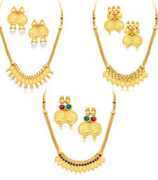 Exquitely Laxmi Coin Temple Gold Plated Set of 3 Necklace Set Combo For Women