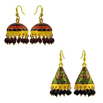 Meenakari tokri and cone shaped jhumki