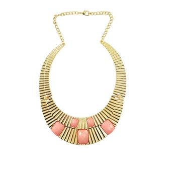 Bollywood Actress in Pastel Colours Thick Gold Necklace