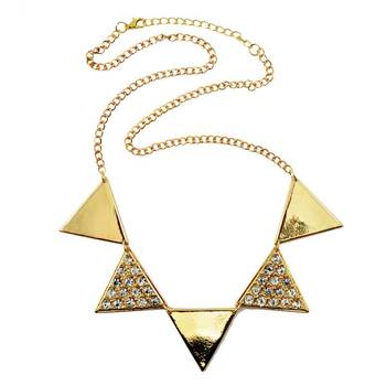 DIOVANNI Blissful Duality of Diamonds and Gold Geometric Triangle Statement Necklace