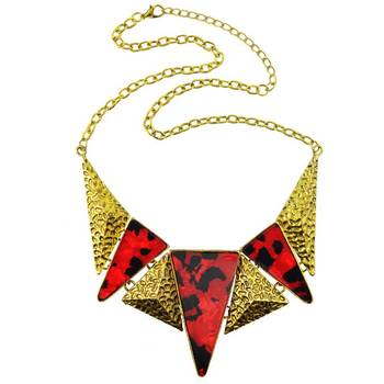 DIOVANNI Red Geometry Leopard Prints Statement Necklace