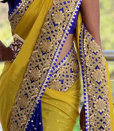 Buy yellow embroidered georgette saree With Blouse party-wear-saree online