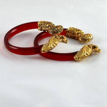 Exclusive stretchable bangles 21cut trans  red