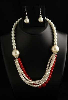 designer pearl and red semiprecious stone mala with pearl drops