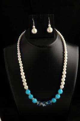 designer pearl sky blue square mala with pearl drops