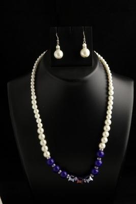 designer pearl blue square mala with pearl drops