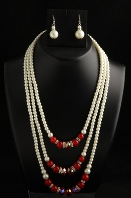 designer pearl three layer mala with red square with pearl drops earings