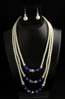 designer pearl three layer mala with blue square with pearl drops earings