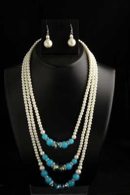 designer pearl three layer mala with sky blue square with pearl drops earings