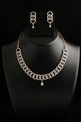 stylish american diamond cz necklace