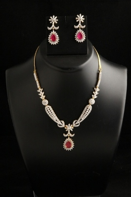 stylish american diamond cz necklace with red stone
