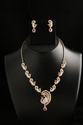 Peacock designer american diamond necklace