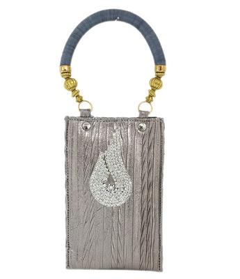 Designer Silver Stone Mobile Pouch