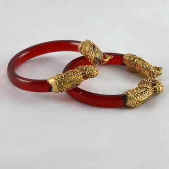 Sizzling stretchable bangles 21cut trans  red
