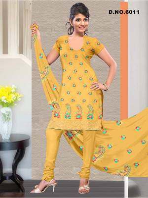 Hitex Fabric Yellow Embroidery Dress Material for designer suits