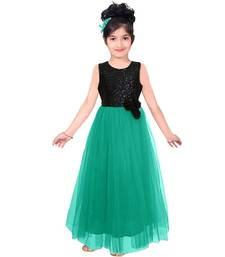 Buy Sea Green sequins satindesigner part wear embroidery kids gown kids wear kids-salwar-suit online