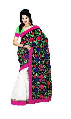 Black and White Chiffon And Cotton Embroidered Saree By Fabfiza