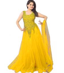 Buy Yellow net embroidered unstitched party wear gowns party-wear-gown online