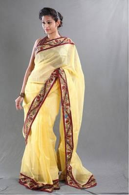 Yellow Supernet Saree with Kalamkari border