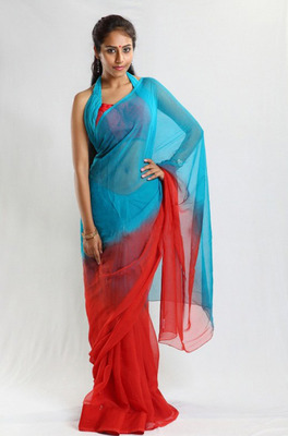 Red & Turquoise Chiffon Saree with halter neck blouse