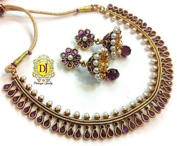 Gorgeous purple polki necklace set