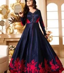 Buy Blue Bhagalpuri silk embroidered semi stitched salwar with dupatta
