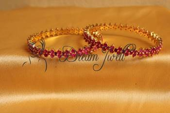 GORGEOUS GOLD PLATED GENUINE RUBY BANGLES