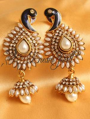 BEAUTIFUL ANTIQUE PEARL PEACOCK EARRINGS-DJ08965