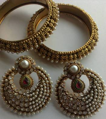 Designer Fancy Earings with Traditional Bangles