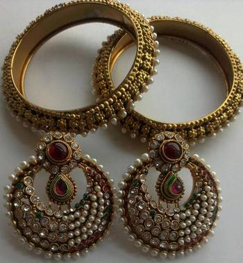 Designer Maroon colour Fancy Earings with Traditional Bangles