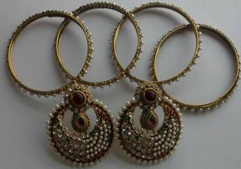 Designer Fancy Maroon colour Earings with Traditional Bangles