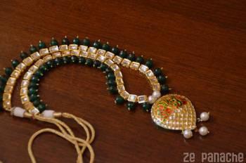 Green Onyx Stone Embellished Kundan Necklace Set