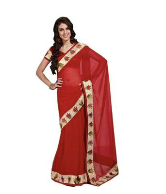 Loootlo Red Embroidered Designer Party wear Border work saree