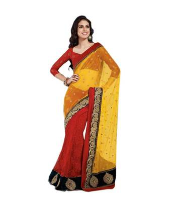 Loootlo Yellow and Red  Velvet Embroidered Designer Party wear Border work saree