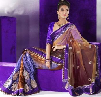 Designer Half Net & Half Crepe Silk Saree