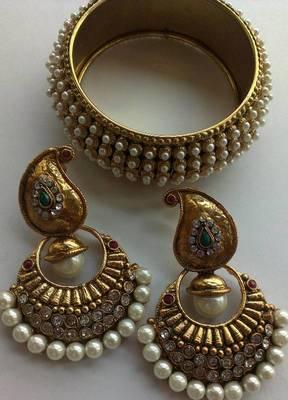 Designer Multi coloured Earings with Traditional Moti Kadas