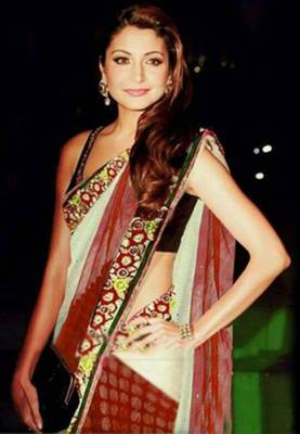 Anushka Sharma White & Red Bollywood Replica Saree
