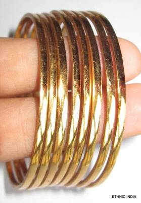 PLAIN THIN 8 BANGLE SET GOLD TONE sz 2.10 XXL